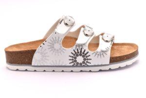 BIO ALPES 11 SER 18 BIANCO scarpe ciabatte donna estive plantare sughero fibbie