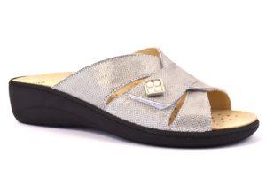 GRUNLAND ESTA CE0589 68 ARGENTO scarpe ciabatte donna estive plantare sottopiede sughero estraibile strappo