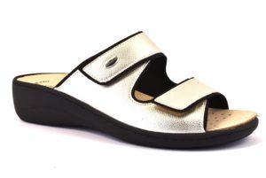 GRUNLAND ESTA CE0592 68 PLATINO scarpe ciabatte donna estive plantare sottopiede sughero estraibile strappo
