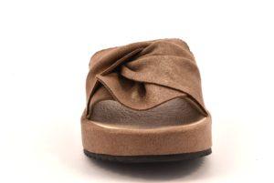 GRUNLAND KATI CI1288 L1 TAUPE beige scarpe ciabatte donna estive sottopiede imbottito Vera Pelle