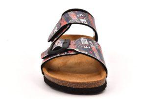 GRUNLAND LUCE SB1207 40 BLU FANTASIA scarpe sandali bambino ragazzo sottopiede sughero strappo fibbie