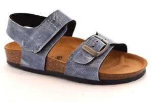 GRUNLAND MARI SB0258 40 JEANS scarpe sandali bambino sottopiede sughero strappo fibbie