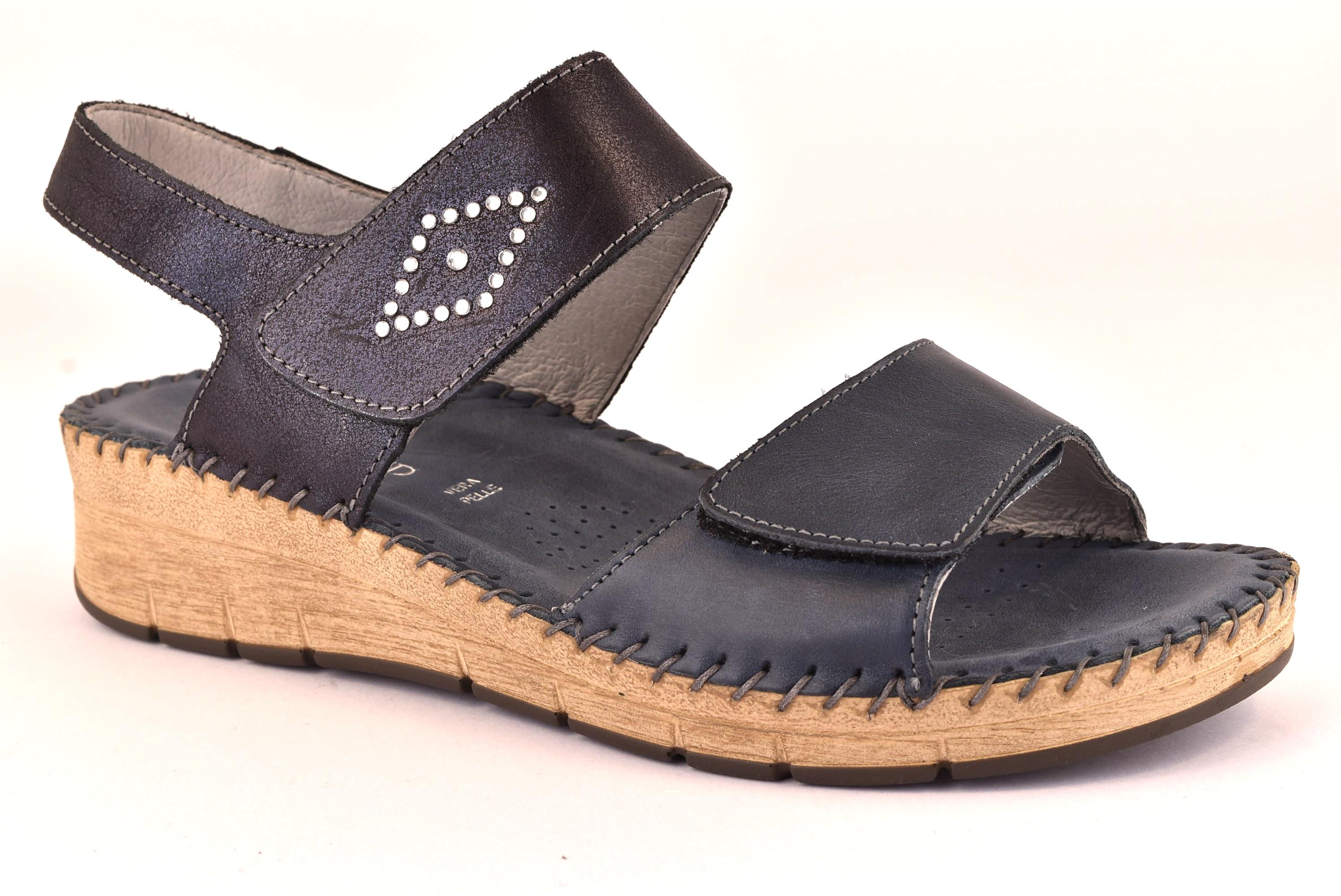 GRUNLAND PALO SA1730 80 BLU Sandalo Pelle Zeppa Comodo Strappi Donna Scarpe 915ecc1d05f