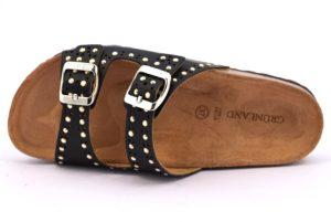 GRUNLAND SARA CB1581 70 NERO scarpe ciabatte donna estive plantare sottopiede sughero fibbie borchie