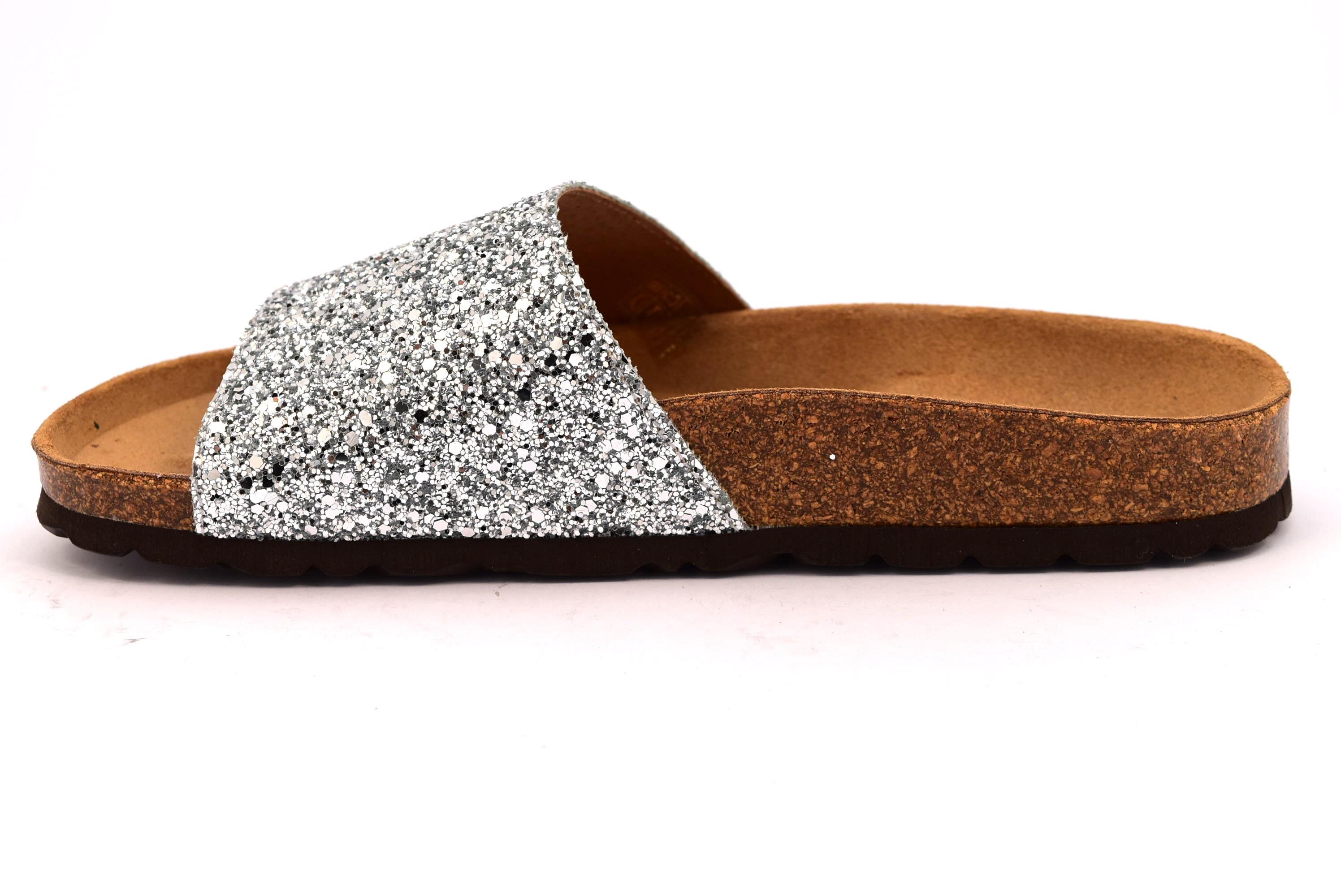 GRUNLAND SARA CB1653 70 ARGENTO scarpe ciabatte donna estive plantare  sottopiede sughero glitter