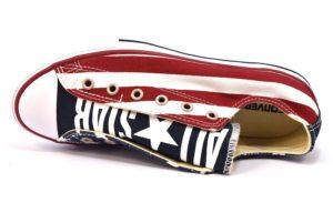 CONVERSE ALL STAR 660992C bianca blu rossa scarpe sneakers primavera estate estive slipon bassa bandiera usa stelle