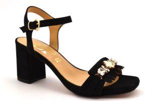 DIVINE FOLLIE 4046 NERO scarpe sandali donna gioiello tacco largo medio cinturino