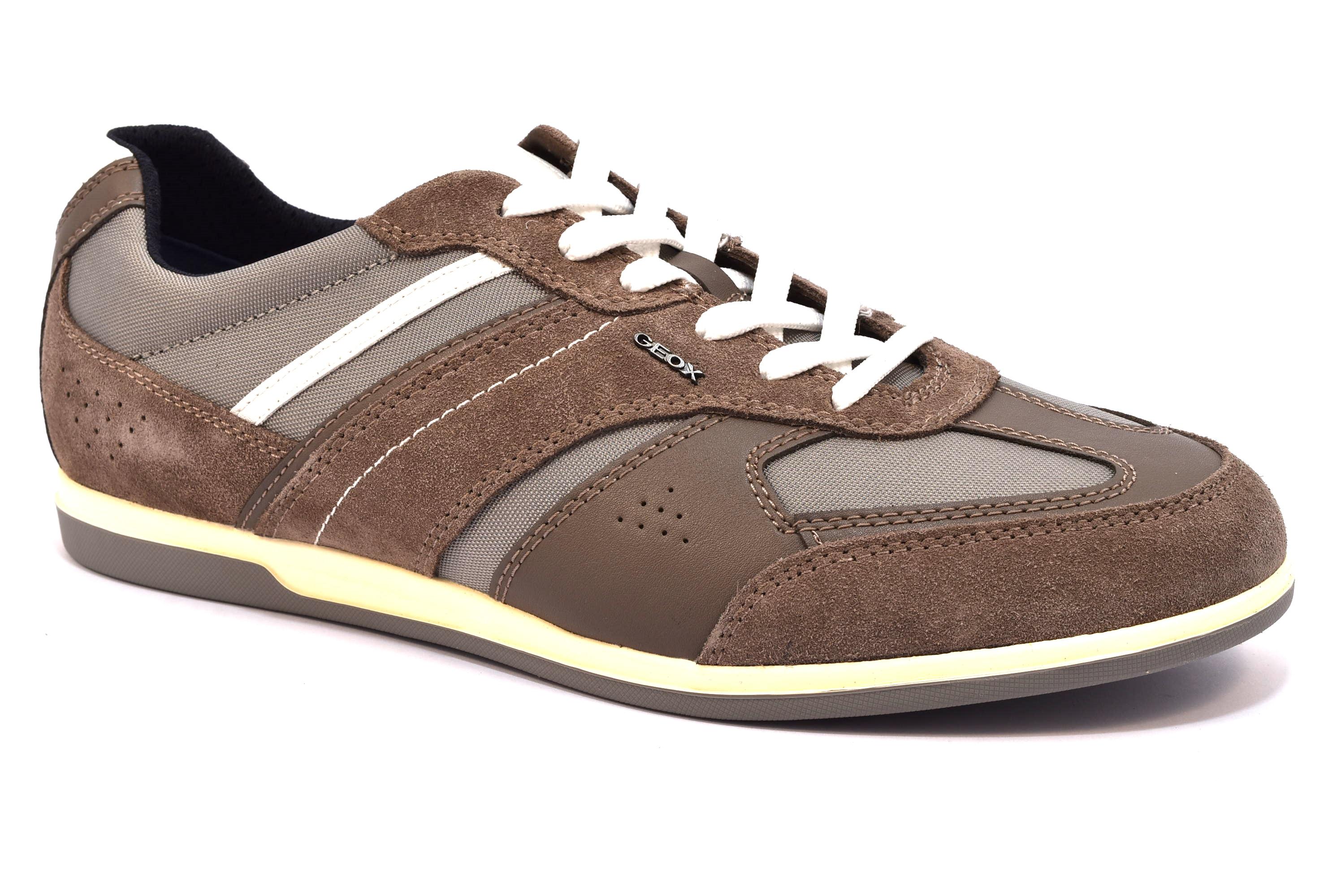 ... GEOX U824GA 02211 C6107 RENAN FANGO taupe stone marrone scarpe sneakers  uomo primavera estate vera pelle ... 164a1558a31