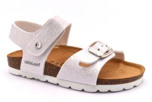 GRUNLAND LUCE SB0229 40 BIANCO scarpe sandali bambina plantare sughero strappo fibbie
