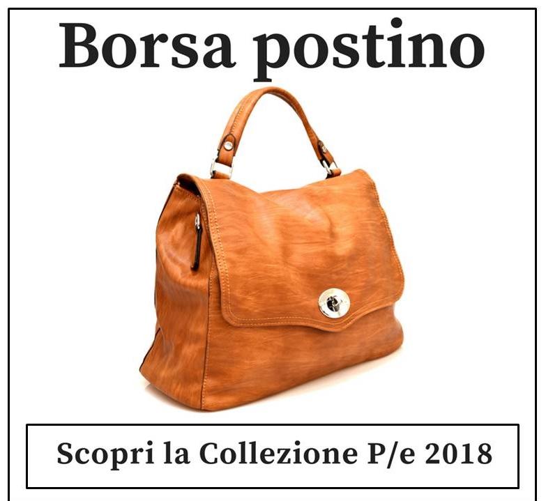 Borsa modello postino a mano e tracolla Hand Bag 2420 Cuoio Nero Bianco Rosa Argento