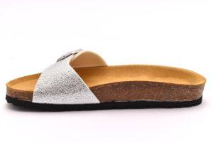BIO COLORS 20005 GKL ARGENTO scarpe ciabatte donna estive plantare sottopiede sughero fibbie fascia bio color's