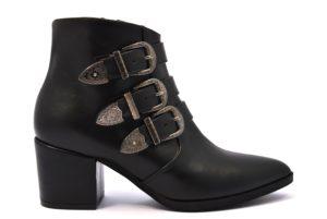 BOTTEGA LOTTI 0413 ECOPELLE NERO scarpe stivali tronchetto donna inverno tacco medio largo cerniera fibbie ecopelle