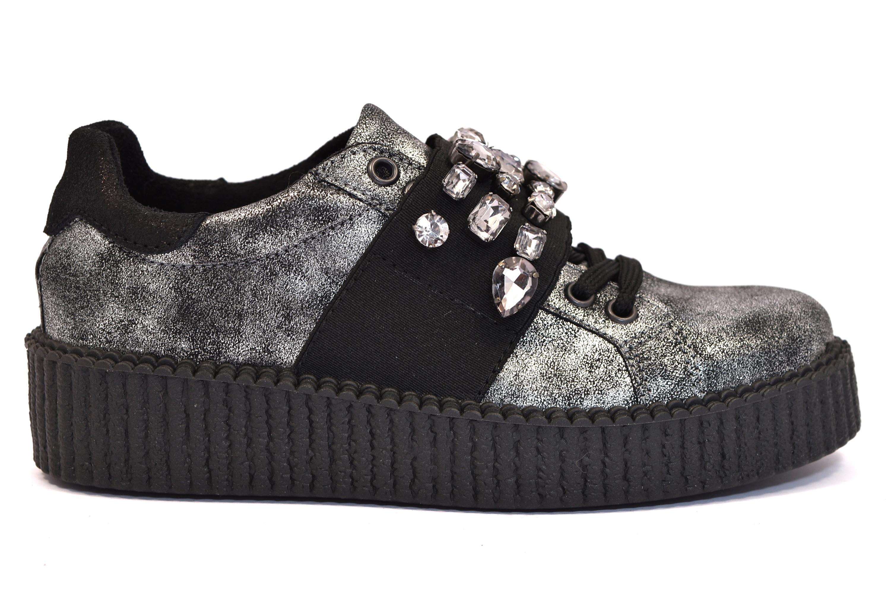 372dc919a3599 ... Materiale Sottopiede Tessuto. DIVINE FOLLIE 116 FUCILE argento scarpe  sneakers donna autunno inverno invernali allacciate stringate platform ...