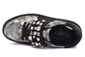 DIVINE FOLLIE 116 FUCILE argento scarpe sneakers donna autunno inverno invernali allacciate stringate platform laminato pietre vera pelle