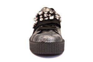 3095ef3809654 DIVINE FOLLIE 116 FUCILE argento scarpe sneakers donna autunno inverno  invernali allacciate stringate platform laminato pietre