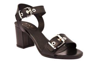 DIVINE FOLLIE 495 NERO scarpe sandali donna tacco medio largo cinturino fibbia vera pelle