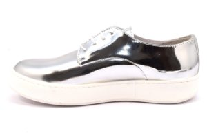 DIVINE FOLLIE 6001 ARGENTO scarpe sneakers donna primavera estate estive allacciate stringate laminato