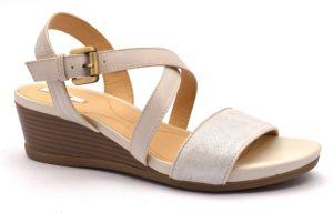 GEOX D828QA 05477 C1002 MARYKARMEN BEIGE scarpe sandali donna sportivi zeppa cinturino Vera Pelle
