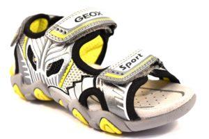 GEOX J7224B 0CE14 C0666 SAND GRIGIO grey lime scarpe sandali bambino strappi led luci