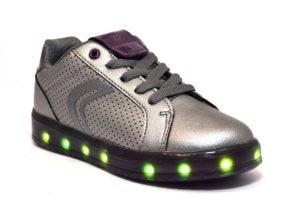 GEOX J744HA 000NF C1AF8 KOMMODOR ARGENTO scarpe sneakers bambino bambina luci led lacci da ginnastica