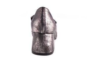 PAOLA FIRENZE 0426 PIOMBO argento scarpe décolleté donna autunno inverno tacco largo medio frangia catena