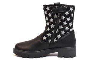 PRIMIGI 86065 00 NERO scarpe stivali bambina invernale bikers stelle vera pelle paillettes cerniera