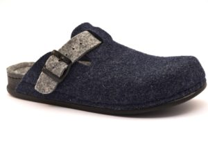 GRUNLAND REPS CI1016 A6 BLU GRIGIO ciabatte uomo invernali fibbia pantofole tirolesi