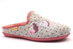 GRUNLAND FAYE CI1429 B5 GRIGIO Rosa Ciabatte Pantofole Donna Cuori Paillettes Panno Invernali zeppa