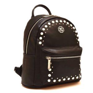 ZAINO 10 302 2 NERO zainetto elagante donna autunno inverno 2018 19 borchie borchiato perlecerniera piccolo medio scuola viaggio cerimonia
