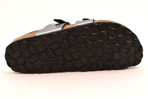 BIO ALPES 4200 ANTRACITE grigio argento laminato scarpe ciabatte donna estive plantare sughero fibbie