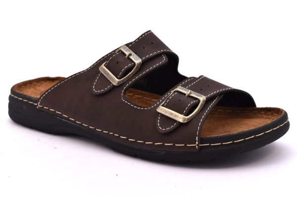 ARIZONA PATRIZIA 636 T MORO marrone scarpe ciabatte pantofole uomo casa camera estive fibbie pelle
