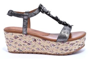 CAFE NOIR KHA925 277 HA925 ANTRACITE bronzo scarpe sandali donna zeppa casual cinturino cafè noir