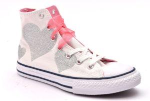CONVERSE ALL STAR 660971C scarpe sneakers bambina primavera estate estive alte bianche argento cuore glitter