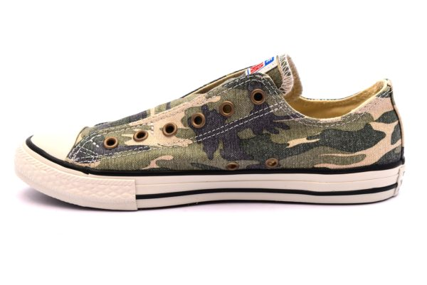 CONVERSE ALL STAR 660976C beige scarpe sneakers donna primavera estate estive slipon bassa militare camouflage stelle