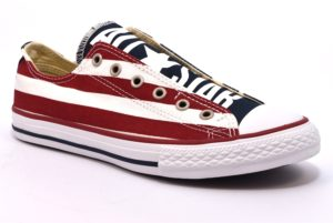 CONVERSE ALL STAR 660992C bianca blu rossa scarpe sneakers primavera estate estive slipon bassa bandiera usa stelle