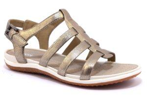 GEOX D72R6A 000BN C9003 SAND VEGA BRONZO platino lead scarpe sandali bassi donna laminato