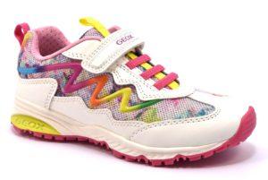 GEOX J8211A 0BCGF C0653 BERNIE BIANCO white multicolor scarpe sneakers bambina estive strappi glitter
