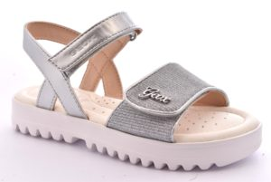 GEOX J826EG 0EWNF C1007 CORALIE ARGENTO silver scarpe sandali bambina strappi glitter