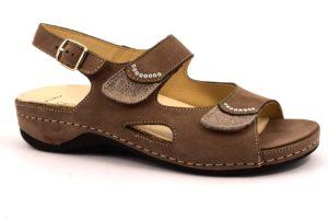 GRUNLAND CALA SE0365 68 TAUPE beige scarpe sandali donna estivi plantare sottopiede sughero estraibile strappi fibbia vera pelle