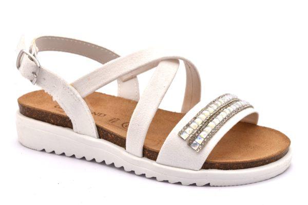 GRUNLAND COOL SB0285 70 BIANCO scarpe sandali bambina plantare sughero fibbia brillantini