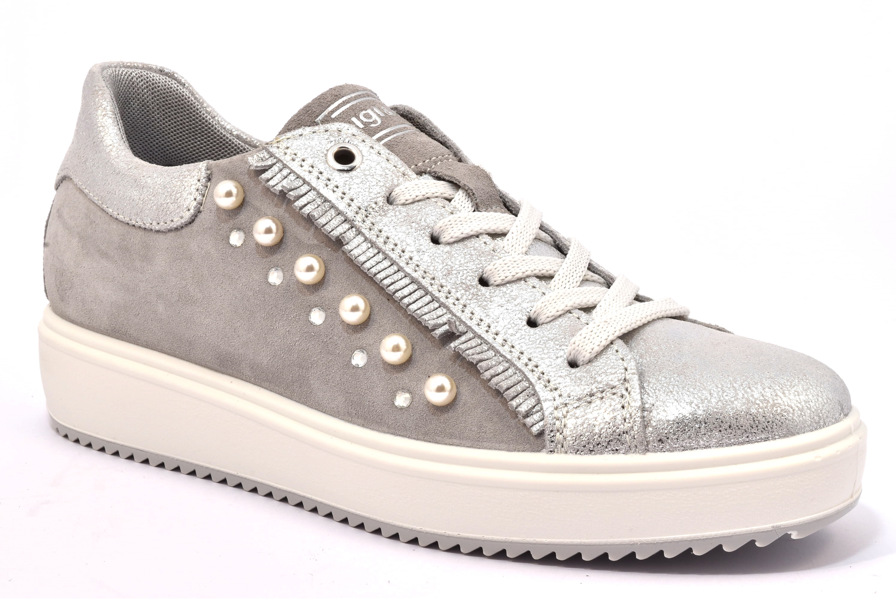 IGI CO 1148722 ARGENTO SCAMOSCIATO scarpe sneakers donna primavera estate  estive allacciate stringate fb97b48a5e3