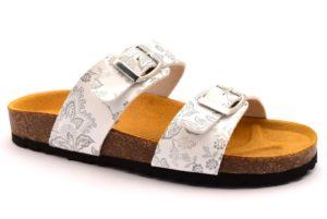 BIO COLORS 20066 GVO BIANCO argento scarpe ciabatte donna estive plantare sottopiede sughero fibbie bio color's