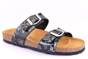 BIO COLORS 20066 GVO NERO argento scarpe ciabatte donna estive plantare sottopiede sughero fibbie bio color's