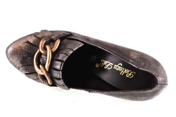 BOTTEGA LOTTI 0143 PIOMBO argento scarpe tacchi alti décolleté donna autunno inverno frangia catena plateau