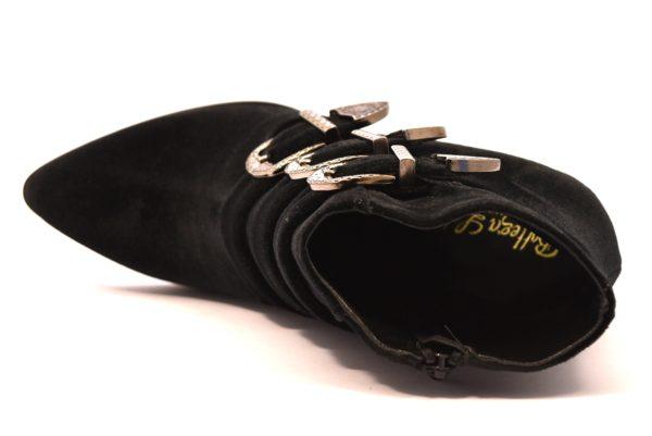 BOTTEGA LOTTI 0413 VELLUTO NERO scarpe stivali tronchetto donna inverno tacco medio largo cerniera fibbie