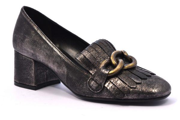 BOTTEGA LOTTI 0426 PIOMBO argento scarpe décolleté donna autunno inverno tacco largo medio frangia catena