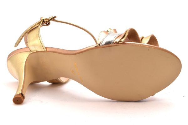 DIVINE FOLLIE 2503 CHARME RAME oro scarpe sandali donna eleganti tacco stiletto cinturino