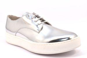 DIVINE FOLLIE 6001 ARGENTO scarpe sneakers donna primavera estate estive allacciate stringate laminato