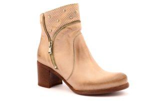 DIVINE FOLLIE 790 TAUPE beige scarpe stivale stivalino tronchetto donna estivo vera pelle tacco medio cerniera borchie
