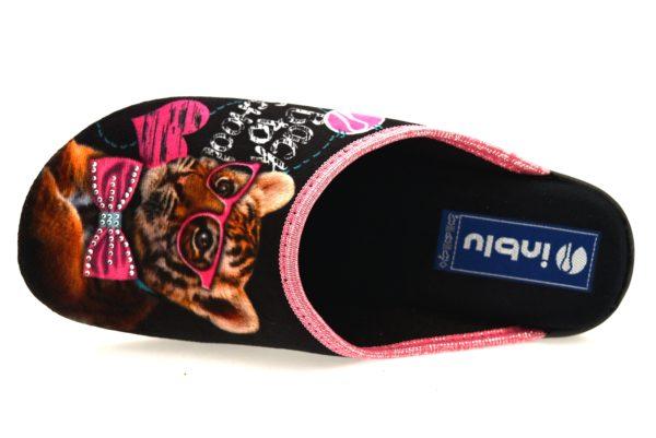 INBLU BQ 110 NERO ciabatte pantofole in panno invernali calde comode ciabatta pantofola invernale in panno per la casa e camera tigre cuore brillantini donna